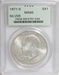 Eisenhower Dollars: , 1971-S $1 Silver MS66 PCGS. PCGS Population (1769/298). NGC Census: (617/69). Mintage: 2,600,000. Numismedia Wsl. Price for...