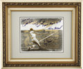 Autographs:Photos, 1980's Roger Maris & His Victims Signed Photograph. Stylizedblack, white and gold image capturing the swing that made Mari...