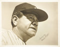 Autographs:Photos, 1940's Babe Ruth Signed Oversized Photograph, PSA Graded Mint 9. While this stirring photographic portrait of the Babe shou...