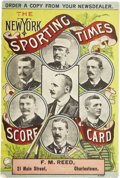 Baseball Collectibles:Programs, 1887 New York Giants vs. Boston Beaneaters Scorecard. One of just a small handful of surviving scorecards from nineteenth c...