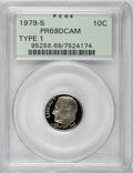 Proof Roosevelt Dimes: , 1979-S 10C Type One PR69 Deep Cameo PCGS. PCGS Population(4083/155). NGC Census: (355/15). Numismedia Wsl. Price for NGC/...