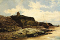 Fine Art - Painting, European:Modern  (1900 1949)  , Attributed to ALFRED DE BREANSKI (British, 1852-1928). Heysham Abby, Morecambe Bay. Oil on canvas. 20-1/4 x 30-1/4 inche...