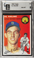 Baseball Cards:Singles (1950-1959), 1954 Topps Al Kaline #201 GAI NM-MT 8. Like Babe Ruth before him,this Hall of Fame slugger honed his home run skills in th...