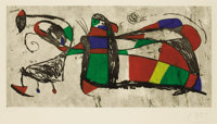 JOAN MIRÓ (Spanish, 1893-1983) Three Joans, 1978 Color etching and aquatint 20-3/4 x 42 inches (5