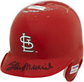 "Autographs:Baseballs, Stan Musial Signed Mini Helmet. The long-time staple in St. LouisCardinals lineups has applied a ""Man-ly"" example of his s..."