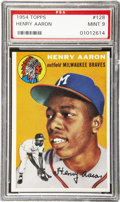 Baseball Cards:Singles (1950-1959), 1954 Topps Hank Aaron Rookie #128 PSA Mint 9. Certainly one of the hobby's most important post-war cards, a status it will ...