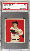 Baseball Cards:Singles (1940-1949), 1949 Bowman Bob Feller #27 PSA NM-MT 8. Robert William AndrewFeller came off a farm in Iowa and pitched for the Cleveland I...