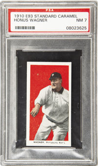 1910 E93 Standard Caramel Honus Wagner PSA NM 7. Second only to the great Ty Cobb in value within this thirty-card issue...