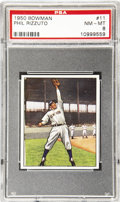 Baseball Cards:Singles (1950-1959), 1950 Bowman Phil Rizzuto #11 PSA NM-MT 8. The 1950 Major League Player of the Year, Phil Rizzuto played in nine World Series...