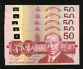 Canadian Currency: , 1988 $50s Choice Crisp Uncirculated or Better. ... (Total: 5 notes)