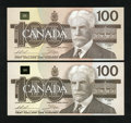 Canadian Currency: , 1988 $100s Choice Crisp Uncirculated or Better. ... (Total: 2notes)