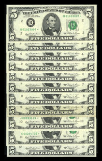 Complete District Set Fr. 1976-B*-L* $5 1981 Federal Reserve Star Notes. Very Good-Fine