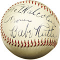 "Autographs:Baseballs, Late 1930's Babe Ruth Single Signed Baseball, PSA NM-MT+ 8.5. We'llnever know the full identity of the ""Malcolm"" to whom t..."