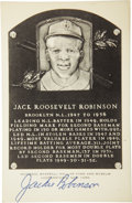 Autographs:Post Cards, 1960's Jackie Robinson Signed Black & White Plaque. The MajorLeague's first black ballplayer was likewise the first to cro...