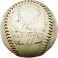 Autographs:Baseballs, 1927 Philadelphia Athletics Team Signed Baseball. After competitionfrom the rogue Federal League forced Connie Mack to dis...