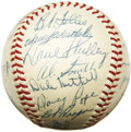 Autographs:Baseballs, 1954 Cleveland Indians Team Signed Baseball, PSA NM-MT+ 8.5. Timehas literally stood still for this outrageous OAL (Harrid...