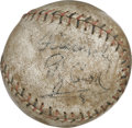 Autographs:Baseballs, Ty Cobb Single Signed Baseball. A whole side panel has beenutilized by the Georgia Peach as he has penned his signature al...