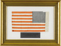 Military & Patriotic:Civil War, A Copy of the Betsy Ross Flag Made by Her Granddaughter This is a remarkable miniature flag, a copy of the 'Betsy Ross' desi...