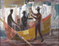 Texas:Early Texas Art - Modernists, WILLIAM LESTER (1910-1991). Fisherman at Night, 1959. Oil onlinen. 34in. x 44in.. Signed upper left. Signed, titled and...