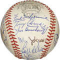 Autographs:Baseballs, 1968 Cincinnati Reds Team Signed Baseball. With newcomer JohnnyBench getting into the swing of things as starting catcher,...