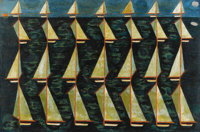 LEON D'USSEAU (b.1947) Modern Sailboats With Sun And Moon Oil on board 24 x 35-1/2 inches (61 x 90.2 cm) Signed lowe