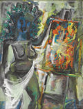 Paintings, BYRON BROWNE (American 1907-1961). Nude With An Easel, 1958. Mixed media on paper. 26 x 20 inches (66 x 50.8 cm). Signed...