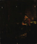 Fine Art - Painting, European:Other , EUROPEAN SCHOOL. Man In Repose By Candlelight. Oil oncanvas. 31-1/2 x 27 inches (80 x 68.6 cm). Unsigned. ...