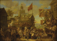 Circle of William Hogarth (British 1697-1764) Country Scene Of Low Life In A Village Oil on canvas 26 x 36 inches (26