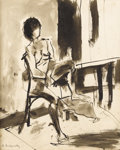 Fine Art - Painting, European:Other , EUROPEAN SCHOOL. Seated Nude. Ink on paper. 16 x 13 inches(40.6 x 33 cm). Signed lower left (indecipherable). ...