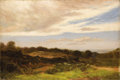 Fine Art - Painting, European:Antique  (Pre 1900), WALTER STUART LLOYD (British Nineteenth Century). Landscape WithRecumbent Sheep At Twilight, 1875. Oil on canvas. 20 x...