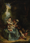 Fine Art - Painting, European:Antique  (Pre 1900), CONTINENTAL SCHOOL (Early Nineteenth Century). An AmorousCouple. Oil on canvas. 21 1/4 x 15 inches (54 x 38.1 cm).Unsi...