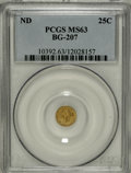 California Fractional Gold, Undated 25C Liberty Round 25 Cents, BG-207, High R.5, MS63 PCGS....