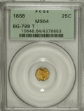 California Fractional Gold, 1868 25C Indian Octagonal 25 Cents, BG-799T, High R.5, MS64PCGS....