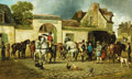 Fine Art - Painting, European, ALFRED SAINT-MARIE (French). Poste aux chevaux. Oil oncanvas. 19-3/4 x 32-1/2 inches (50.2 x 82.6 cm). Signed lowerlef...