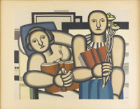 FERNAND LÉGER (French, 1881-1955) La Lecture, 1924 Lithograph in colors Published by Galerie Loui