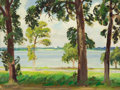 Fine Art - Painting, American:Contemporary   (1950 to present)  , OLIN TRAVIS (American, 1888-1975). White Rock Lake. Oil oncanvas board. 18 x 24 inches (45.7 x 61.0 cm). ...