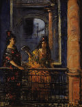 Fine Art - Painting, American:Modern  (1900 1949)  , LILLIAN MATHILD GENTH (American, 1876-1953). Spanish Women onBalcony. Oil on artist's board. 10 x 9 inches (25.4 x 22.9...