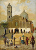 Latin American, J. SOLE ESTEVA (South American, 20th Century). ArgentineanTownscape with Church and Piazza, circa 1950. Oil on arti...