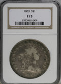 Early Dollars: , 1803 $1 Small 3 F15 NGC. NGC Census: (15/310). PCGS Population(28/284). Mintage: 85,634. Numismedia Wsl. Price for NGC/PCG...