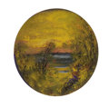 Fine Art - Painting, American:Modern  (1900 1949)  , LOUIS MICHEL EILSHEMIUS (American, 1864-1941). Landscape withSunset over the Water. Oil on board. 5-3/4 x 5-1/2 inches ...