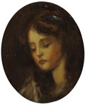 Fine Art - Painting, European:Antique  (Pre 1900), Manner of JEAN-BAPTISTE GREUZE (French, 1725-1805). Portrait ofa Girl. Oil on cardboard. 12 x 9-1/4 inches (30.5 x 23.5...