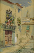 Fine Art - Painting, European:Modern  (1900 1949)  , ENRIQUE MARIN (Spanish, 1876-1940). Toledo Street. Watercolor on paper. 5-1/4 x 3-1/2 inches (13.3 x 8.9 cm). Signed low...