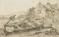 Fine Art - Painting, European:Antique  (Pre 1900), SAMUEL PROUT (British, 1783-1852). Boat on a Beach. Pencilon paper. 5-1/4 x 8-1/4 inches (13.3 x 21.0 cm). ...