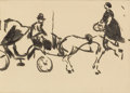 Fine Art - Painting, European:Modern  (1900 1949)  , ALBERT MARQUET (French, 1875-1947). Study of Horse andCarriage. Ink on paper. 6-1/2 x 8-1/2 inches (16.5 x 21.6 cm)....