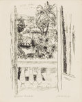 Fine Art - Painting, European:Contemporary   (1950 to present)  , JULES CAVAILLÈS (French, 1901-1977). View from the Window. Ink on paper. 11 x 8-1/4 inches (27.9 x 21.0 cm). Signed in p...