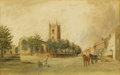 Fine Art - Painting, European:Antique  (Pre 1900), After JOHN CONSTABLE (British, 1776-1837). Dedman Church,1825. Watercolor on paper. 9 x 14 inches (22.9 x 35.6 cm). Sig...