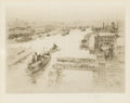Fine Art - Painting, European:Antique  (Pre 1900), WILLIAM WALCOT (British, 1874-1943). London Bridge. Etching. 5-3/4 x 7-3/4 inches (14.6 x 19.8 cm). Signed in pencil lo...