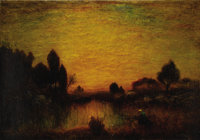 FRENCH SCHOOL (19th Century) Landscape at Sunset Oil on canvas 28 x 40 inches (71.1 x 101.6 cm)