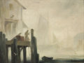 Fine Art - Painting, American:Modern  (1900 1949)  , JOHN KNOWLES HARE (American, 1884-1947). Misty Docks. Oil oncanvas board. 12 x 16 inches (30.5 x 40.6 cm). Signed lower...