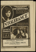 "Movie Posters:Drama, Intolerance (Triangle, 1916). Herald (5.5"" X 8""). Drama...."
